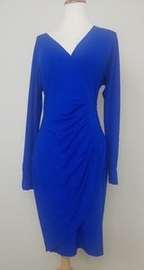 Cache Dress Ruched Cold Shoulder Blue M